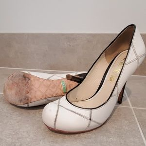 L.A.M.B leather Black and white heels